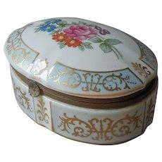 Larger Trinket Box Japan Porcelain Ormolu Vintage Blue White Gold