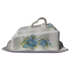 Old Foley Cheese Wedge Dish Vintage China England Forget Me Not Flowers