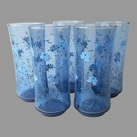 Libbey Tawny Blue Glasses Tall Tumblers Vintage Flowers 5 Smoky