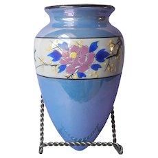 Luster Wall Pocket Japan ca 1930 Vintage Blue Porcelain Birds Flowers