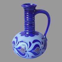 Salt Glaze Cobalt Blue Sgraffito German Zoller Pottery Pitcher Vase Vintage