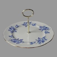 English Bone China Center Handle Server Blue Roses Royal Vale Serving Plate