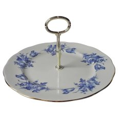 English Bone China Center Handle Server Blue Roses Royal Vale Serving Plate
