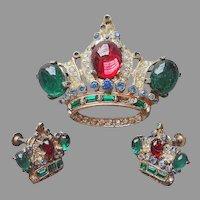 Coro Craft Sterling Silver Crown Pin Earrings Set Vintage Vermeil TLC Needed