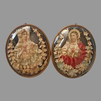 Pair Convex Glass Antique Catholic Pictures Jesus Mary Ribbon Flowers Paper