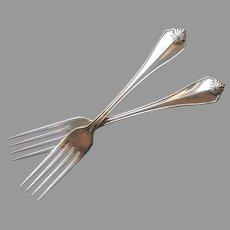 King James 1985 Dinner Forks 2 Vintage Silver Plated 1881 Rogers Oneida