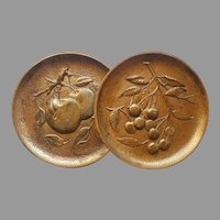 Syroco Plaques Cherries Apples Vintage Syrocowood Pair Gold