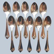 King James 1985 Teaspoons 10 Vintage Silver Plated 1881 Rogers Oneida