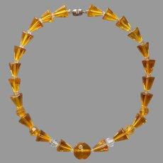 Art Deco Glass Beads Necklace Vintage Sulphur Yellow Restrung