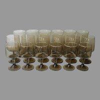 Libbey 1970s Tawny Smoke Brown Glasses Wine Tumblers Vintage Set 18