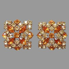 Jeweled Buttons Pair Vintage Jonquil Amber Rhinestones Square
