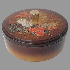 Otagiri Lacquer Powder Vanity Box Trinket Vintage Japan