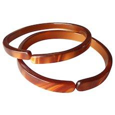 Slender Lucite Bangle Bracelets Brown Vintage Open