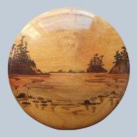 Myrtlewood Plaque Sunset Bay Oregon Vintage Hand Painted Wood