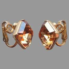 Crown Trifari Earrings Clip Square Brown Glass Stones Gold Tone Vintage