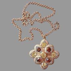 1975 Starburst Sarah Coventry Pendant Necklace Vintage Gold Yellow Brown Rhinestone