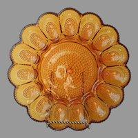 Amber Hobnail Deviled Egg Plate Vintage Indiana Glass Platter
