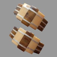 1930s Galalith Art Deco Shoe Clips Vintage Brown Cream