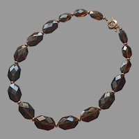 Ralph Lauren Brown Glass Flat Faceted Beads Necklace Toggle