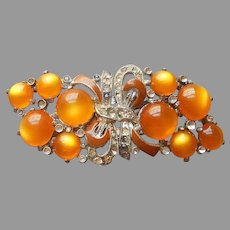 Coro Duette Dress Clips Pin Golden Yellow Moonglow Vintage