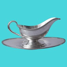 ca 1920 Gravy Sauce Boat Under Plate Silver Plated Antique S.L.G.H. Rogers