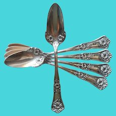 Gloria Grenoble 1906 Fruit Spoons Ornate Silver Plated Floral Grapefruit Citrus