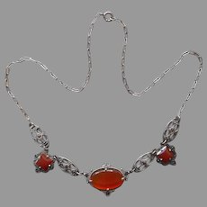 1920s Carnelian Sterling Silver Marcasite Art Deco Necklace Vintage