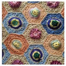 106 x 84 Crocheted Hexagon Granny Square Afghan Bedspread Vintage Boho Heavy