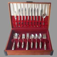 Reverie 1937 Flatware Set Service 8 Silver Plated Vintage In Box