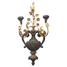 Italian Metal Wood Gold Tole Candle Holder Wall Sconce Vintage