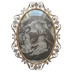 Large Ornate Brass Picture Frame Convex Glass Antique 23 x 17