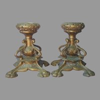 French Bronze Delafontaine Pair Candle Holders Antique 19th Century