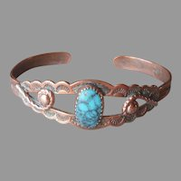 Child's Copper Bell Trading Post Bracelet Cuff Vintage