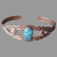 Child's Copper Bell Trading Post Bracelet Cuff Vintage