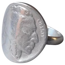 Indian Buffalo Head Nickel Ring Vintage Size 10.25