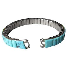 Turquoise Watch Band Ladies Stretch Vintage Native American Silver Tone Petite