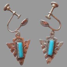 Sterling Silver Turquoise Screw Back Earrings Vintage Arrowhead