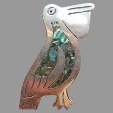Pelican Mexico Abalone Inlay Alpaca Silver Pin Vintage