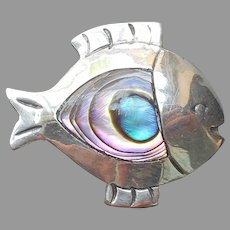 Taxco Sterling Silver Abalone Shell Fish Pin Vintage Mexico Signed
