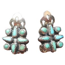 Tiny Zuni Clip Turquoise Petit Point Earrings Sterling Silver Vintage