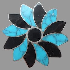 Taxco Signed Jose N S Sterling Silver Turquoise Onyx Pin Vintage Pinwheel