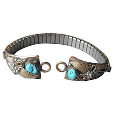 Navajo Sterling Silver Turquoise Gold Filled Watch Tips Band Stretch Ladies Vintage