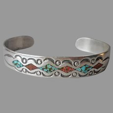 Signed Native American Sterling Silver Cuff Bracelet Crushed Turquoise Coral Inlay Vintage