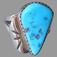 Turquoise Sterling Silver Ring Native American Tear Drop 6 Vintage