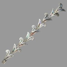Taxco Mexico Sterling Silver Abalone Lily Links Bracelet Vintage