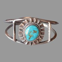 1970s Native American Bracelet Sterling Silver Turquoise Vintage Prince Trading