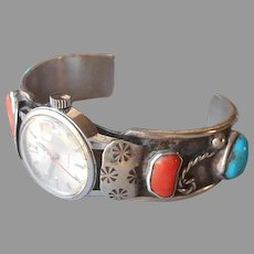 Navajo Cuff Bracelet Watch Helbros Vintage Sterling Silver Turquoise Coral