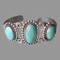 Fine Old Native American Bracelet Cuff Turquoise Sterling Silver Vintage