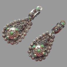 1950s Italian Cellini 800 Silver Drop Earrings Vintage Green Glass Stones
