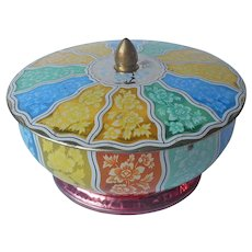 1950s English Candy Tin Round Footed Knob Lid Vintage